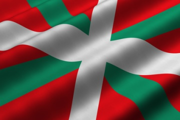Detailed 3d rendering closeup of the flag of the Basque Country (Pais Vasco or Pays Basque). Flag has a detailed realistic fabric texture.